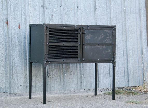 Vintage Industrial Steel Buffet Media Console Liquor Cabinet Modern Rustic Mid Century Credenza Furniture Customizable Handmade New Hutch
