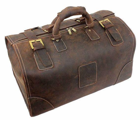 b0a70fa8f820 Super Large Vintage Genuine Leather Briefcase  Travel Bag  Laptop Bag   Handbag  Men s Bag in Vintage Dark Brown on Etsy