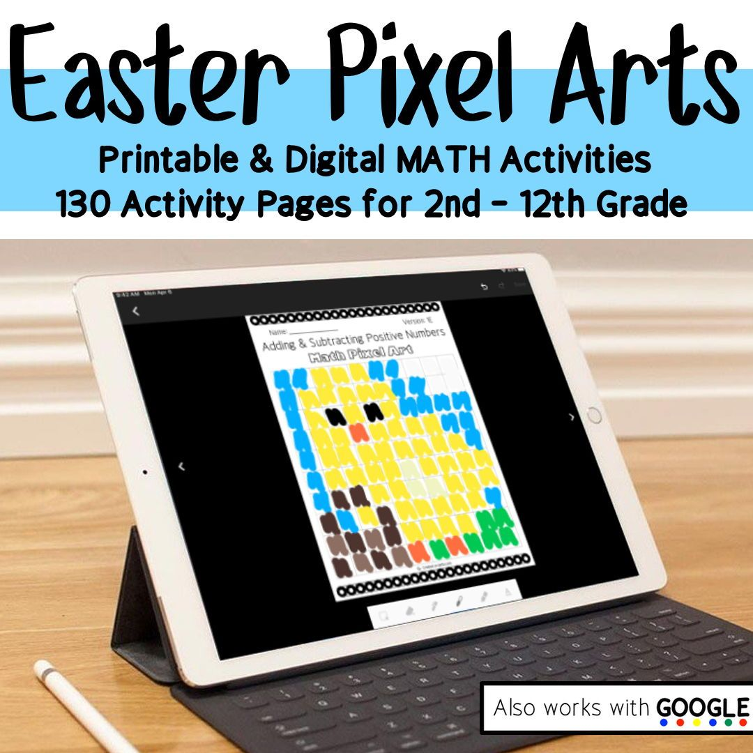 Easter Math Pixel Art Printable Or Digital Activities In