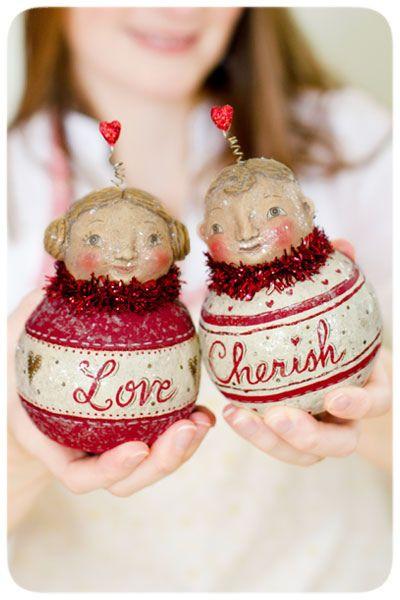 Folk Art Chubby Cherubs by Johanna Parker ~ available through Bethany Lowe Designs