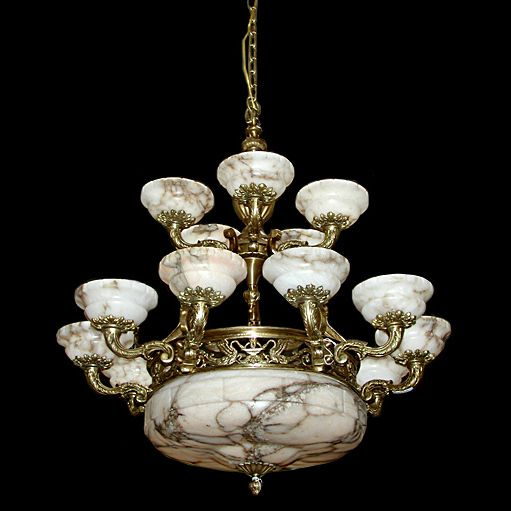 5728 French Bronze Alabaster Chandelier Antique Chandelier
