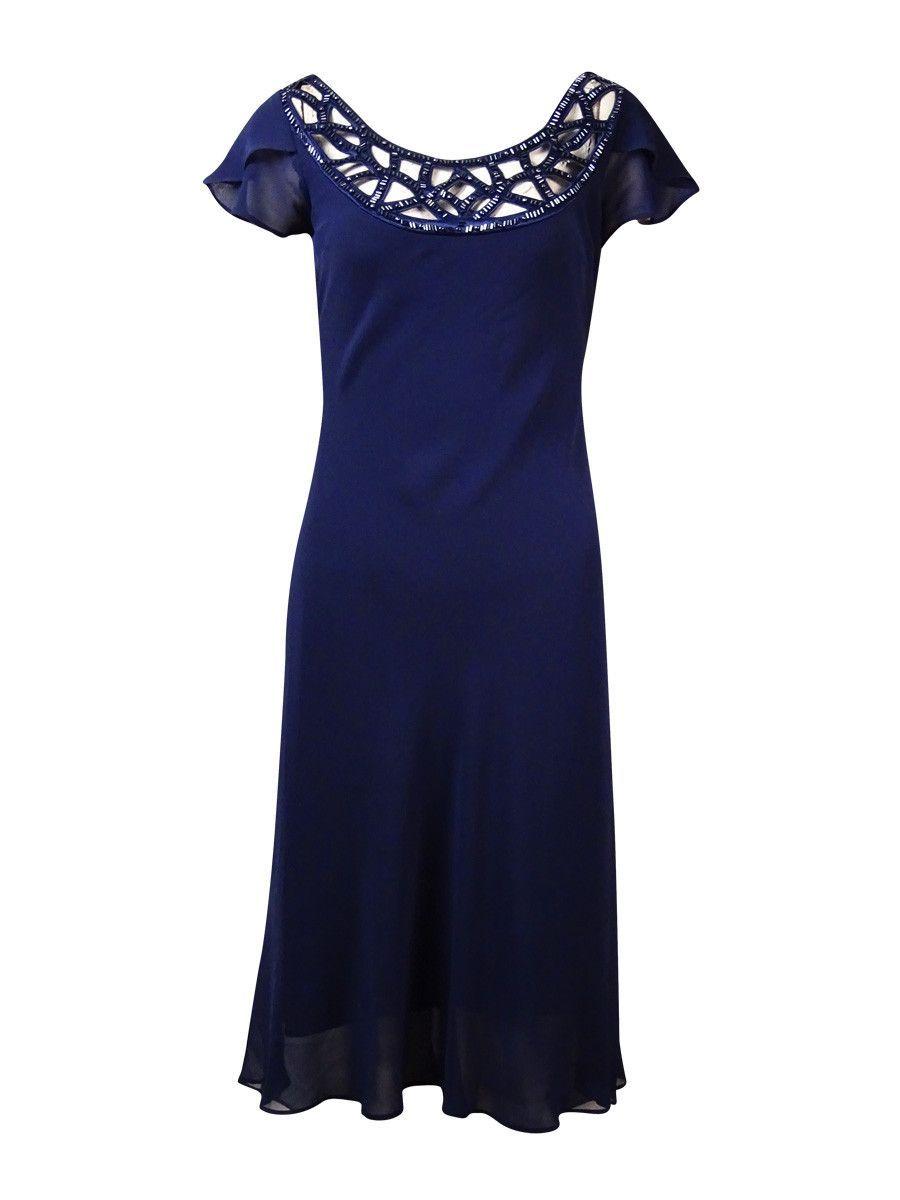 S.L. Fashions Women's Embellished Cutout Hi-Lo Chiffon Dress