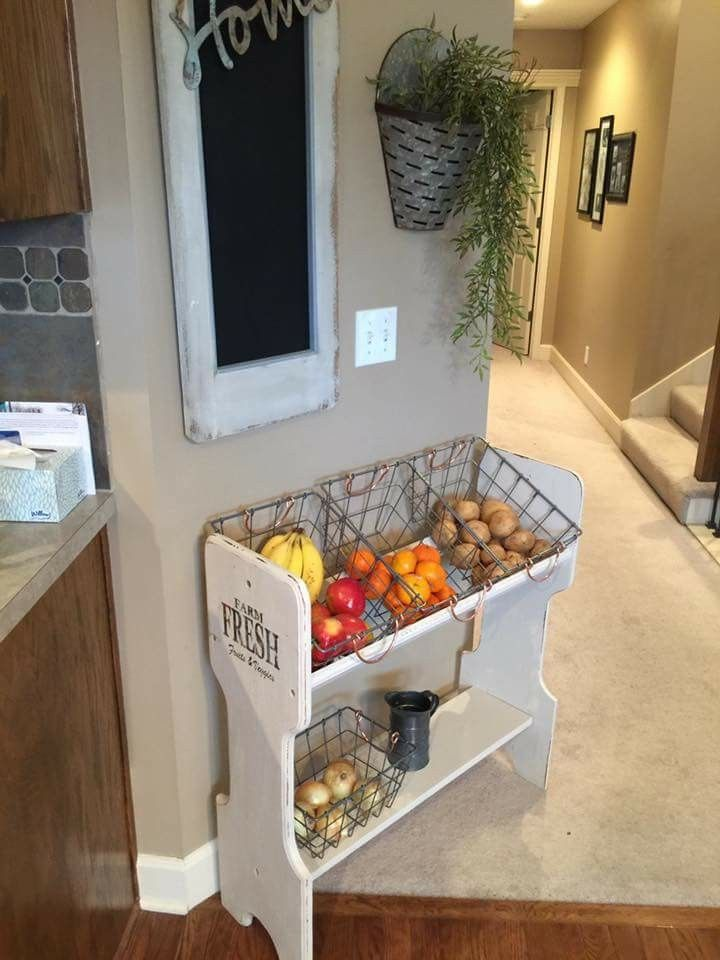 Love This With Images Fruit And Vegetable Storage Log Home Kitchens Vegetable Rack