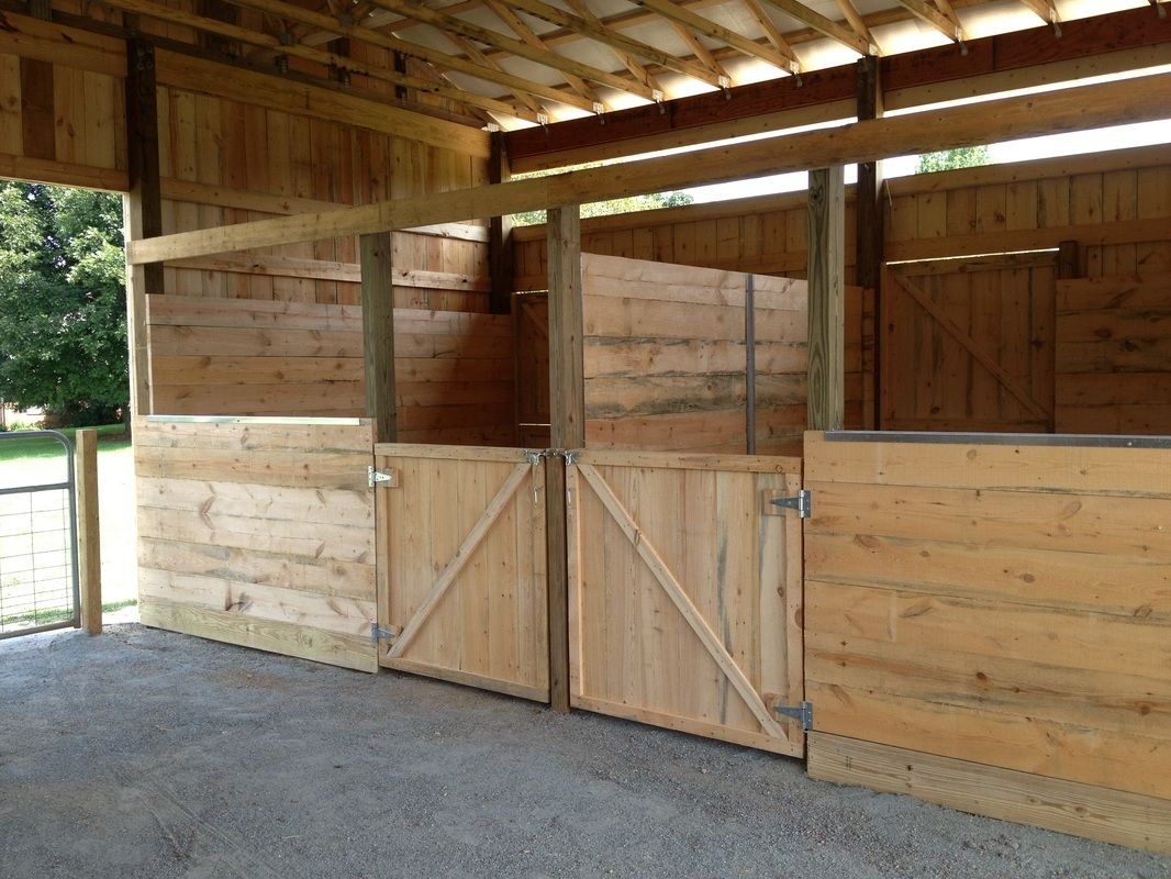 open doored stalls are situated outside allowing your horse to come in and out