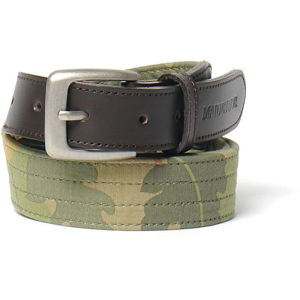 Leaf Camo Leather Trim Belt Olive Camo ❤ liked on Polyvore