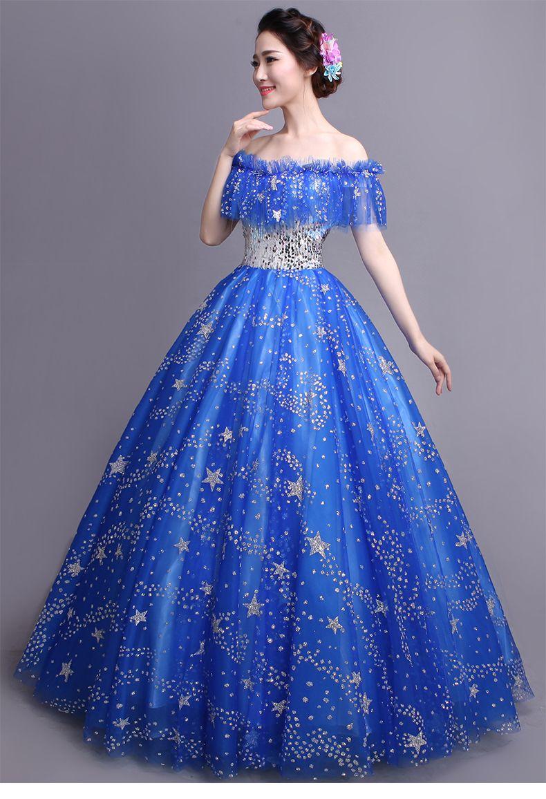 Click to buy ucuc real royal blue glitter stars ruffled slash ball