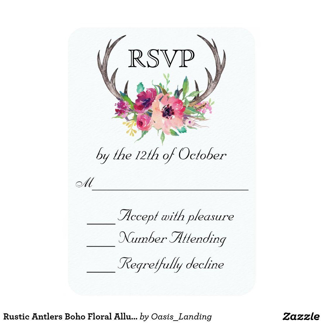 Rustic Antlers Boho Floral Allure Wedding Card Sold At