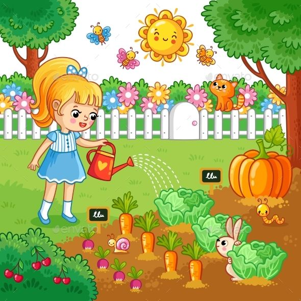 Girl Is Watering Garden Bed with Vegetables. | Typography ...