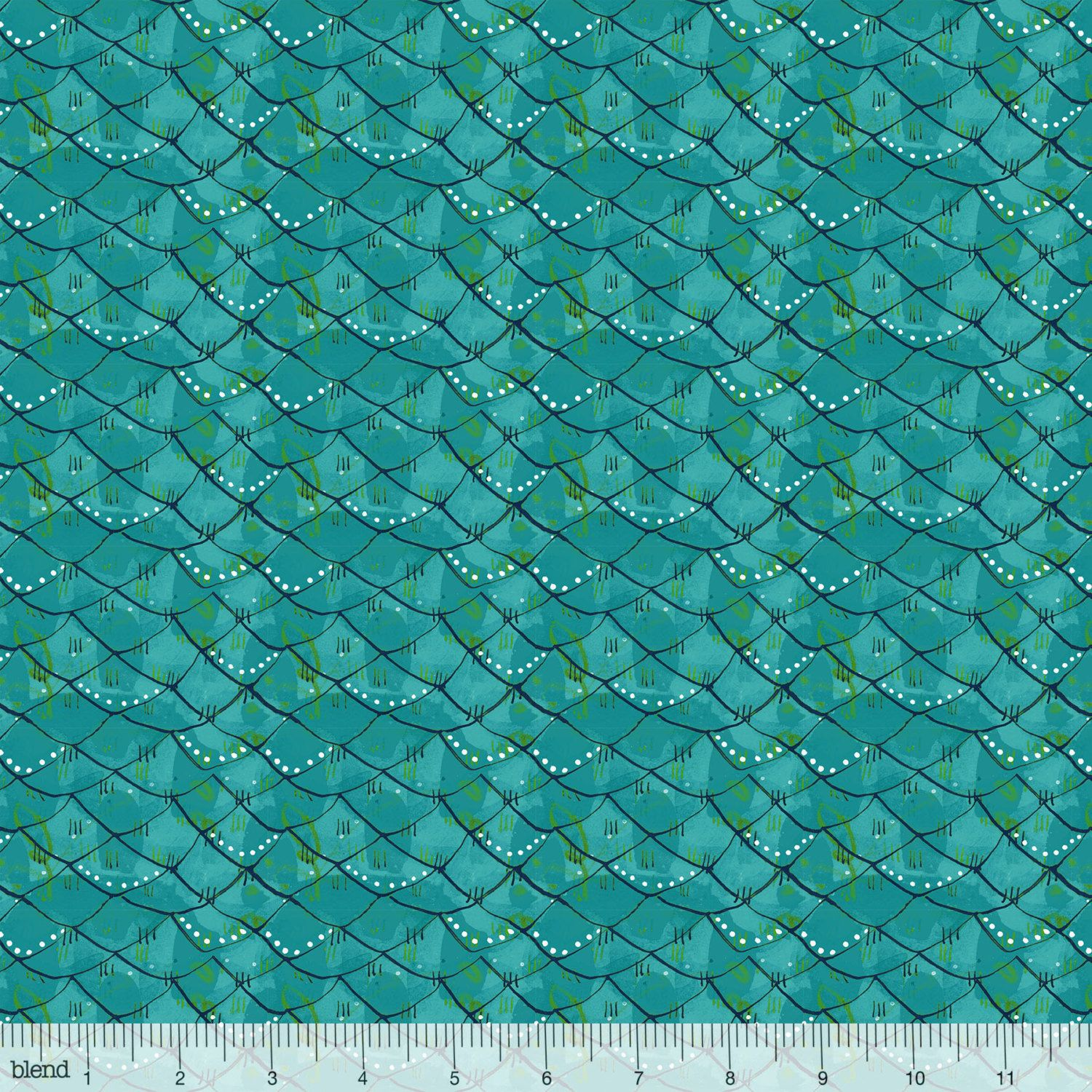 Scalloped turquoise from mermaid days fabric collection by for Fish scale fabric