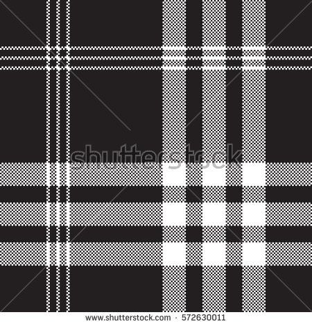 Black And White Check Pixel Square Fabric Texture Seamless Pattern Vector Illustration