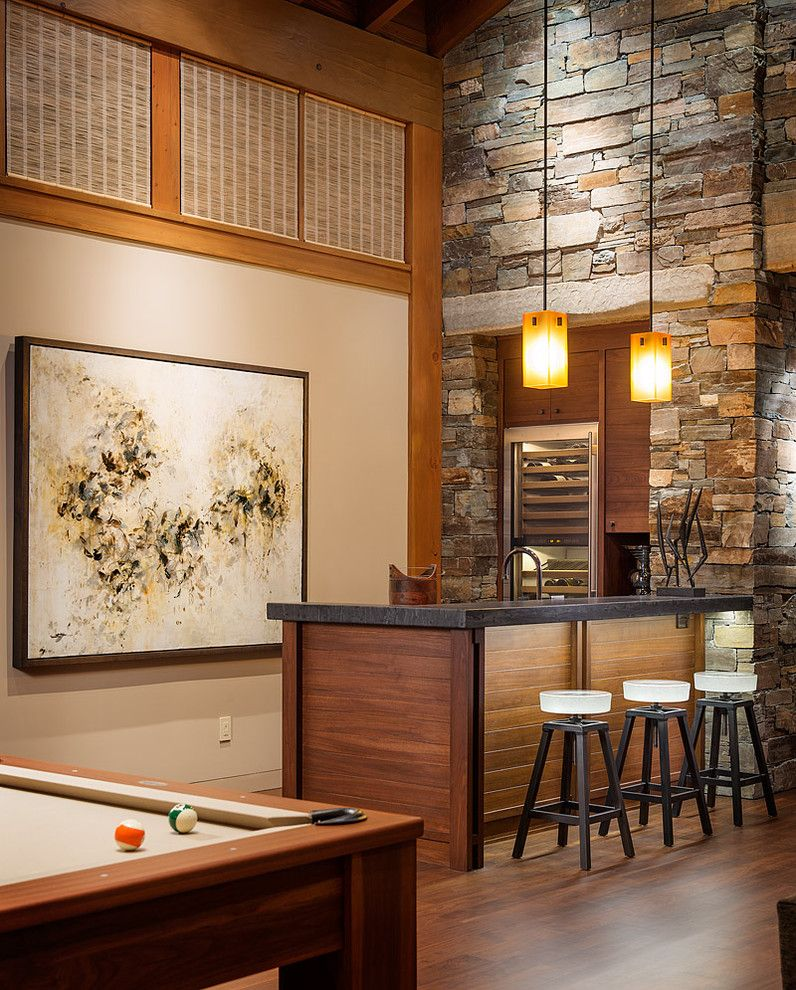 Wall bar ideas family room contemporary with dark wood floor ...