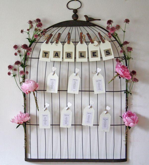The Wedding Of My Dreams Vintage Style Birdcage Notice Board Table Plan