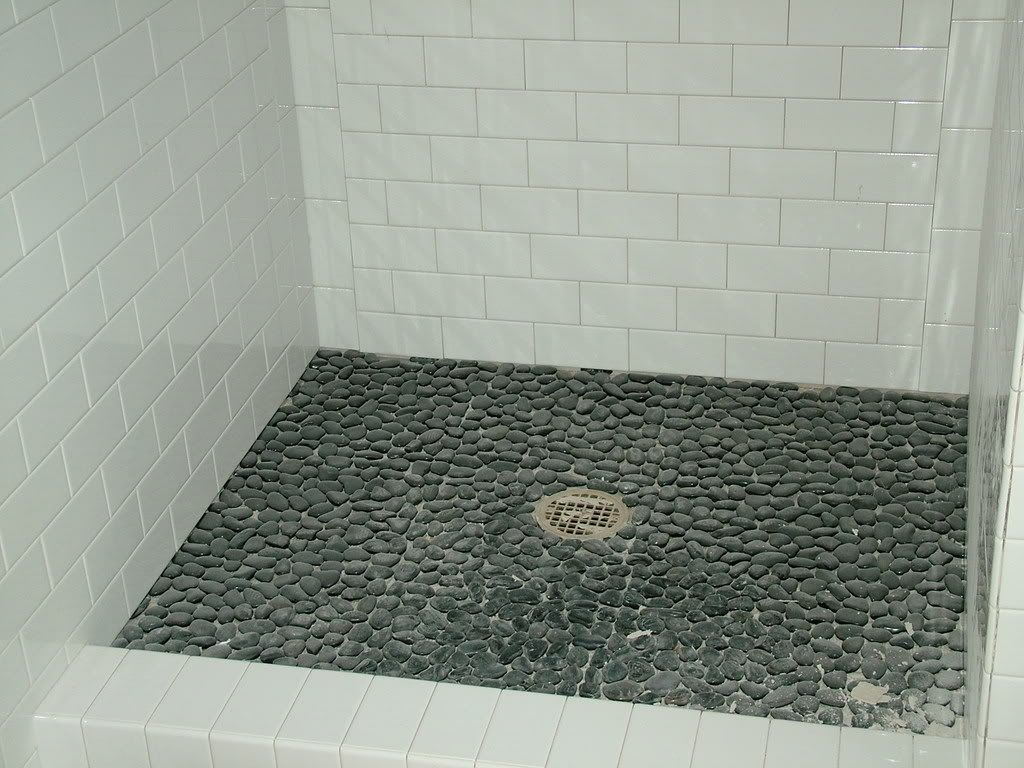 White Subway Tile Shower With Pebble Floor White subway