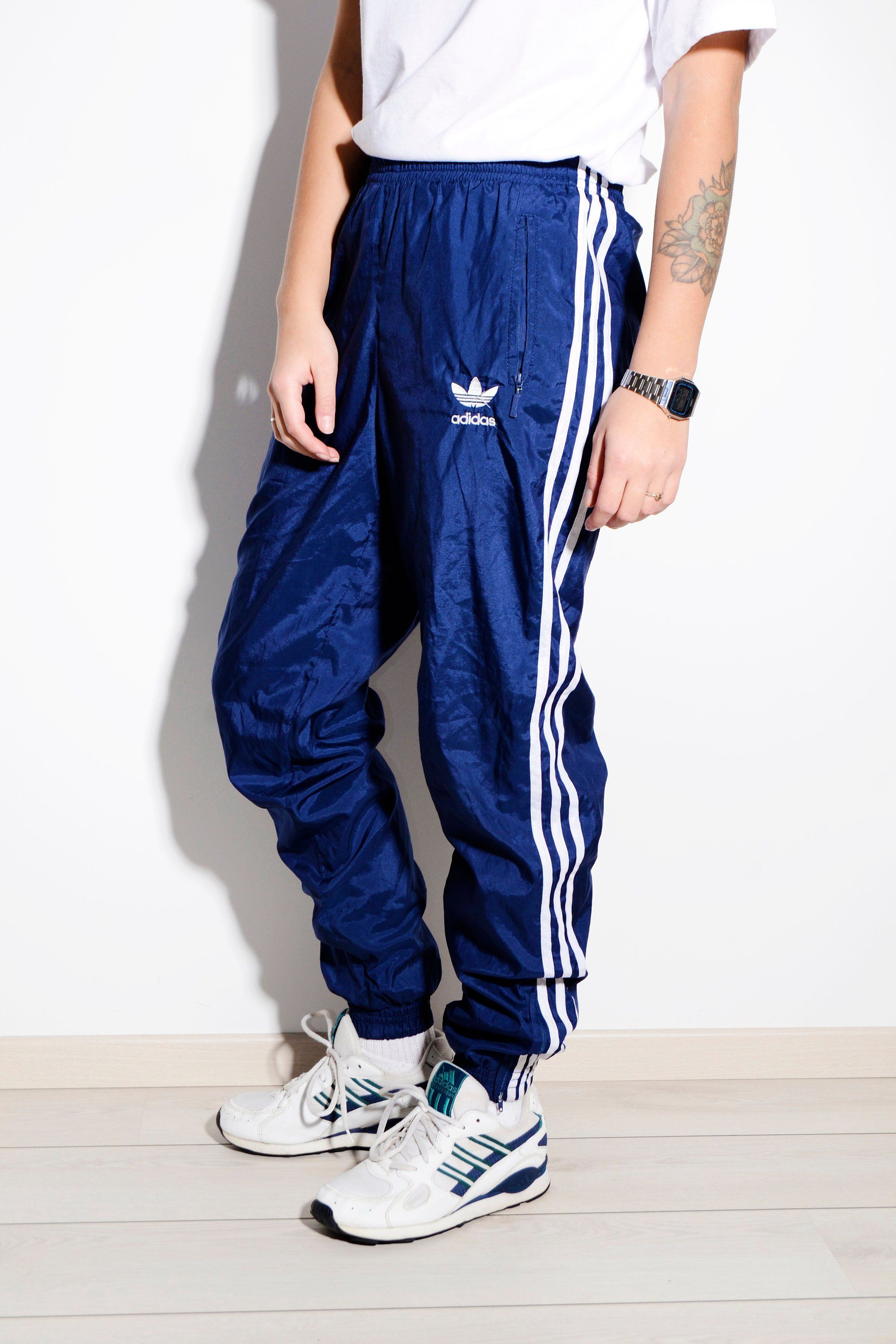 e9d41bac14a0 ADIDAS ORIGINALS vintage festival shell pant nylon in blue   Old school 90s  style women's track wind trousers   Size - Small