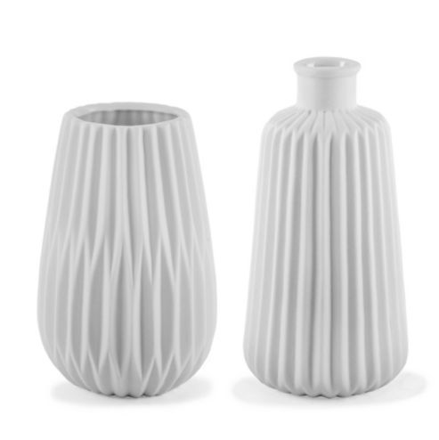 Esko White Geometric Porcelain Contemporary Vase Duo For The Home