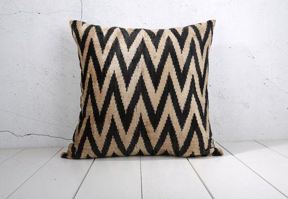 24 X Decorative Pillow Accent Cushion Throw Ikat Cover Silk Black Zigzag Velvet Wide