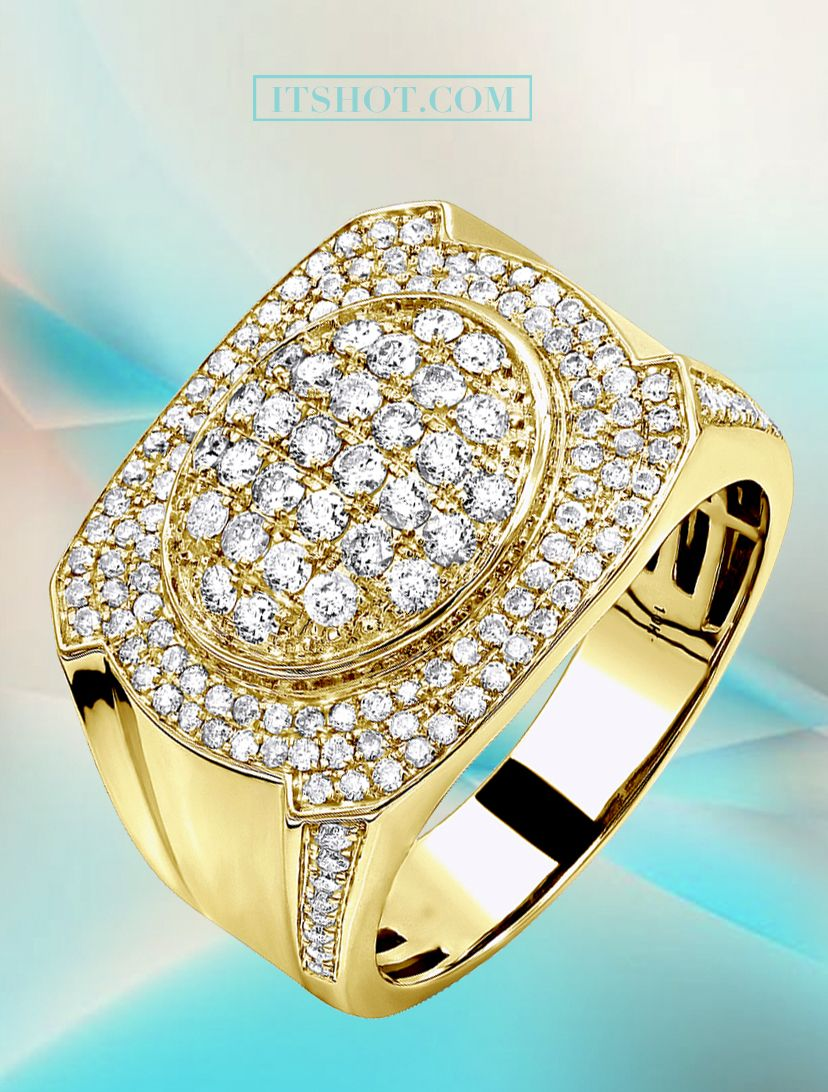 Luxurman Mens Diamond Ring In Solid 10k Gold 1 5ct Men Diamond Ring Diamond Diamond Ring