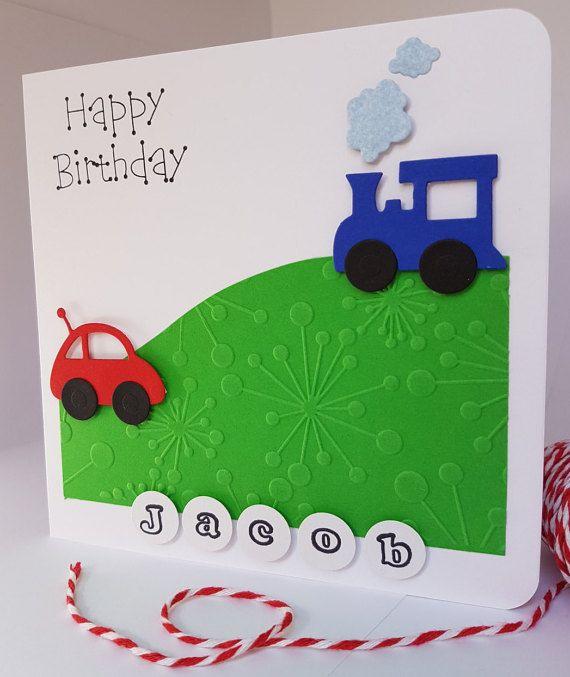 Personalised Childrens Birthday Card Boys Train Car Handmade Bd17