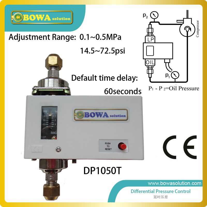 Differential Pressure Switch Lube Oil Failure Cutout For Refrigeration Compressors To Prove Pump Operation Replace Danfoss Mp55 Supply Lines Pressure Switch