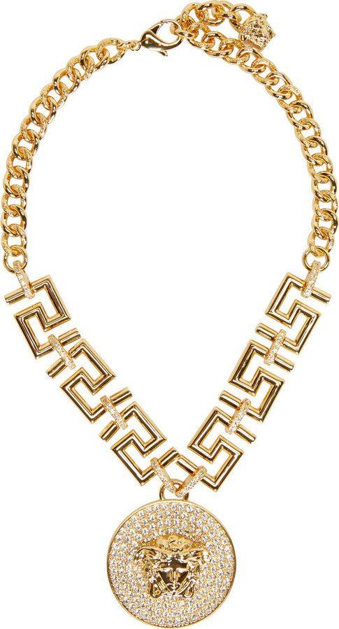 5b916c23c15 Versace Gold Medusa   Greek Key Necklace