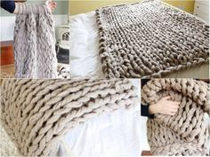 Arm Knitting Step By Step : Arm knit scarf step by video tutorial blankets