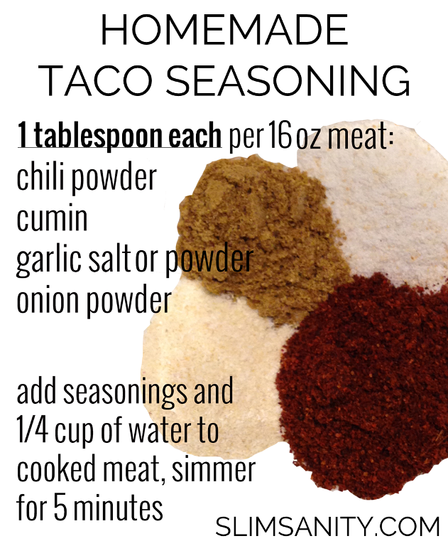 Homemade Taco Seasoning with Salt Free Option - Slim Sanity