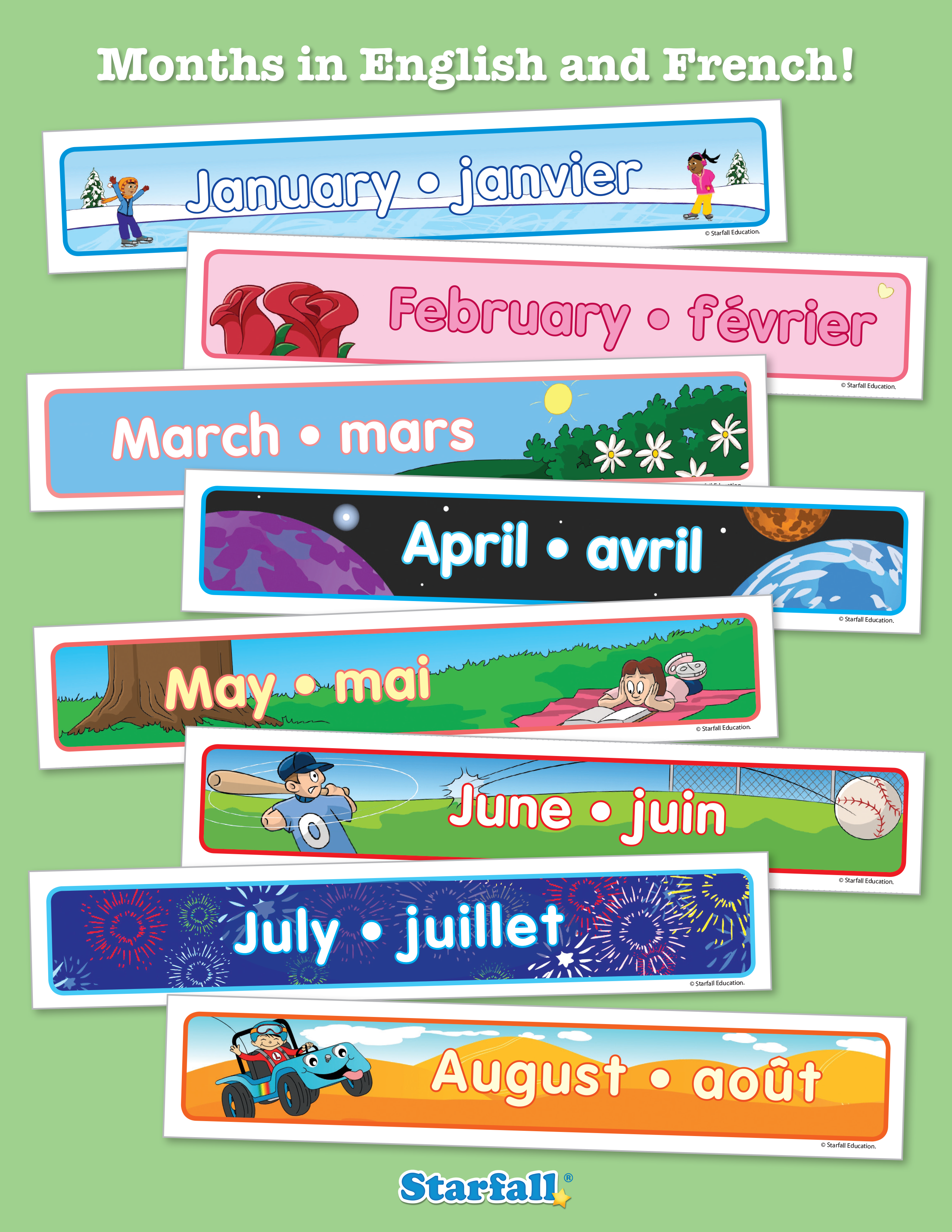 Starfall Has Downloadable Cards Of The 12 Months In