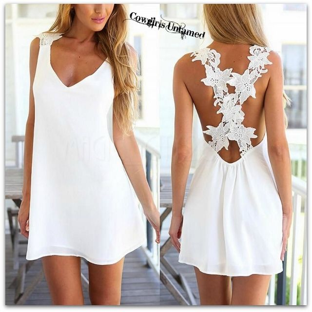 d37b280ea01e COWGIRL GYPSY DRESS White FLoral Crochet Lace Criss Cross Back Chiffon Mini  Dress
