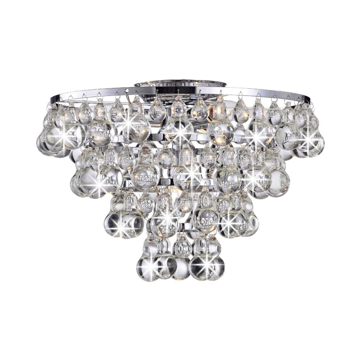 Tranquil Crystal Bubble and Chrome Flush-mount Chandelier ...