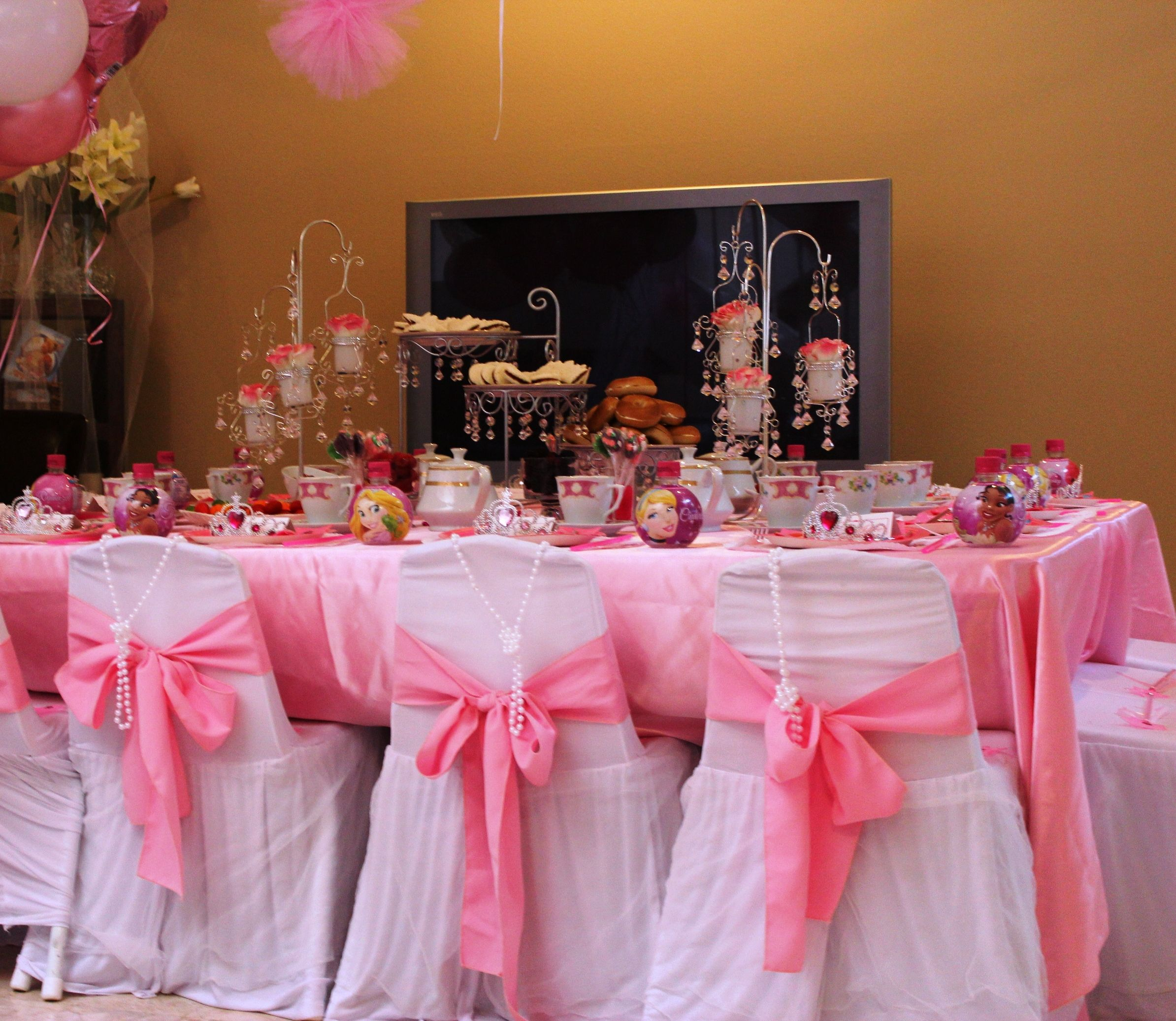 Table decoration for party - Princess Tea Party Ideas Kid Sized Tables And Chairs With Princess Style Chair Covers