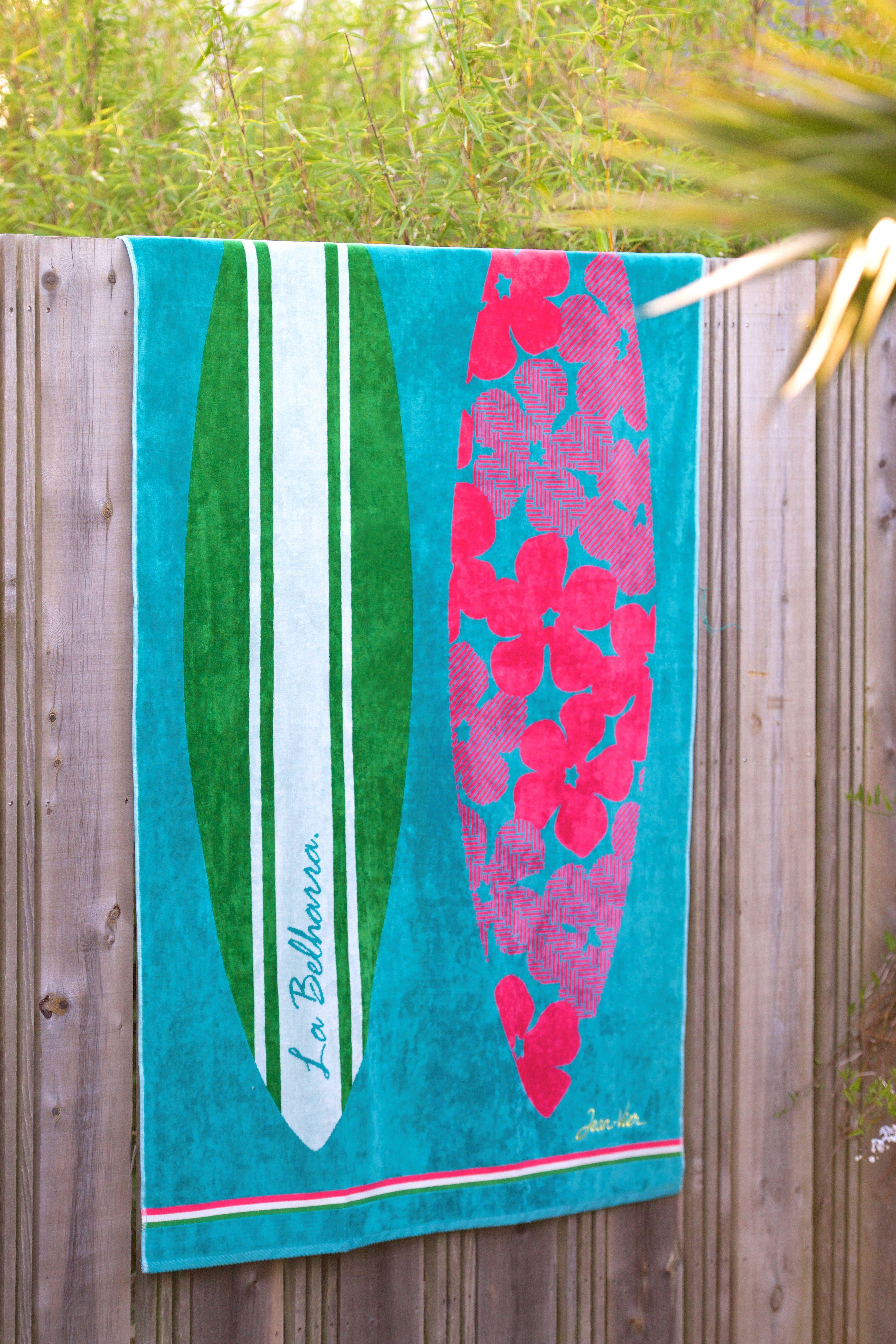 drap de plage coton jean vier c te ouest turquoise cotton beach towel jean vier erromardie. Black Bedroom Furniture Sets. Home Design Ideas