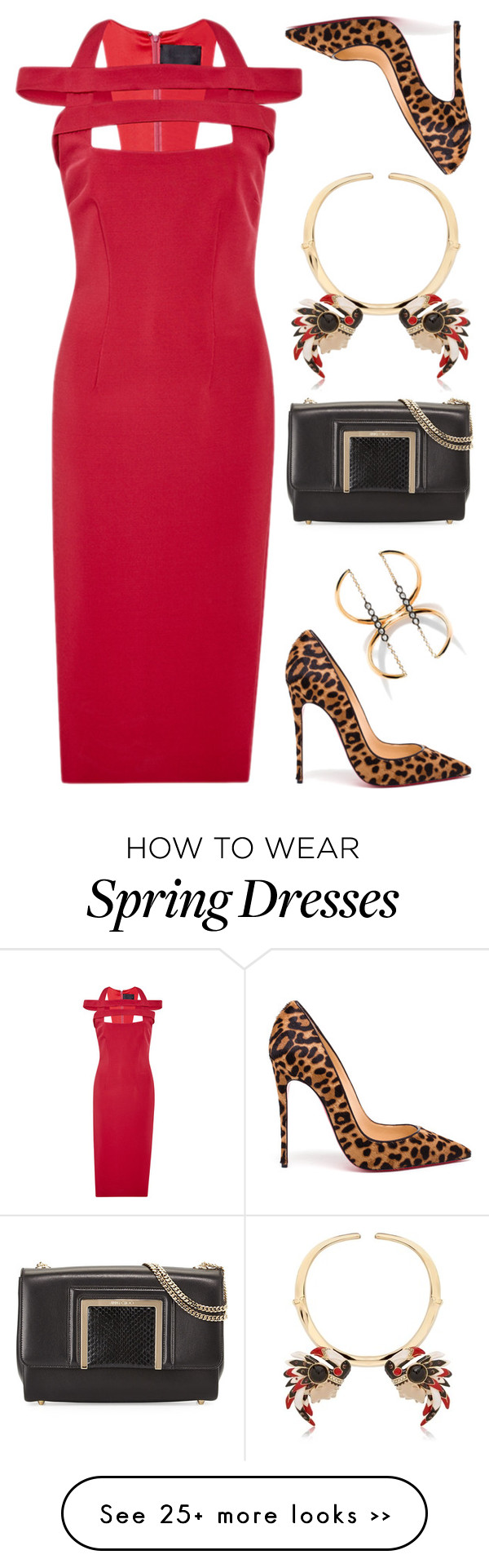 """Red & Leopard"" by cherieaustin on Polyvore featuring Cushnie Et Ochs, Christian Louboutin, Jimmy Choo, Schield Collection and Yannis Sergakis"