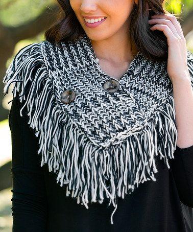 White Plum Black Crochet Button Infinity Scarf