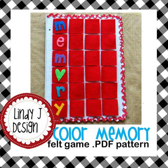 Color Memory Felt Game Pdf Pattern Felt Games Felt Sewing Basics