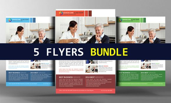 Senior Care Flyers Bundle By Business Templates On Creative