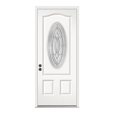 JELD WEN Blakely 3/4 Lite Oval Primed White Steel Entry Door With