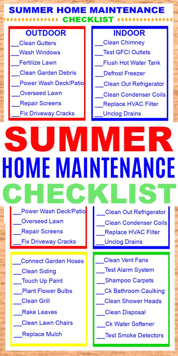 Summer Home Maintenance Checklist A Summer Home Maintenance Checklist Will Help You Get Yo Home Maintenance Checklist Maintenance Checklist Home Maintenance