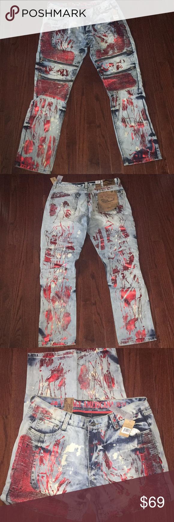 Mens Denim Distressed Painted Jeans Vintage Americana Straight