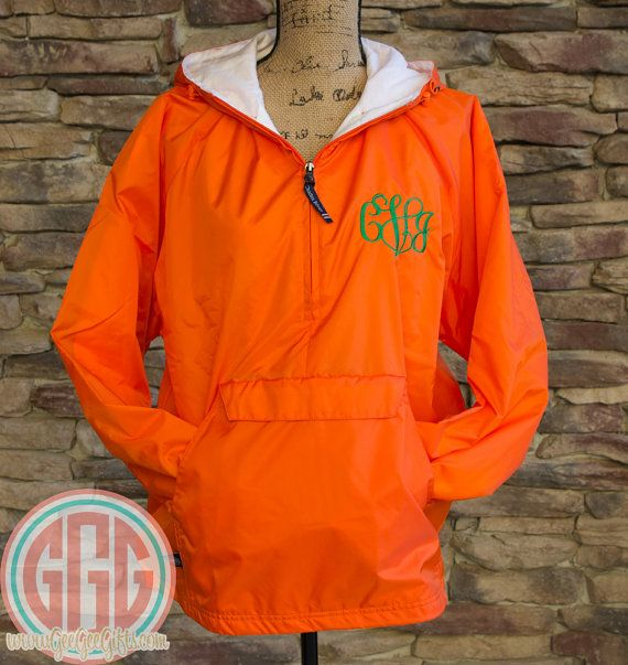 Orange Monogrammed Personalized Quarter Zip Rain Jacket Pullover ...