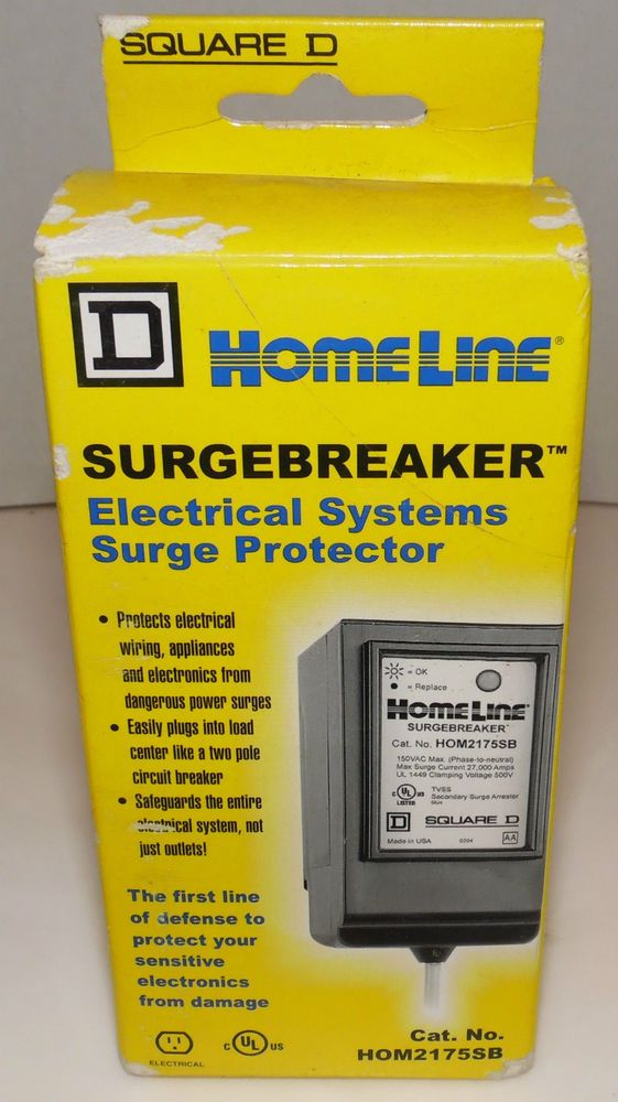 Square D Homeline Surgebreaker Electrical Surge Protector Breaker Hom2175sb New Squared