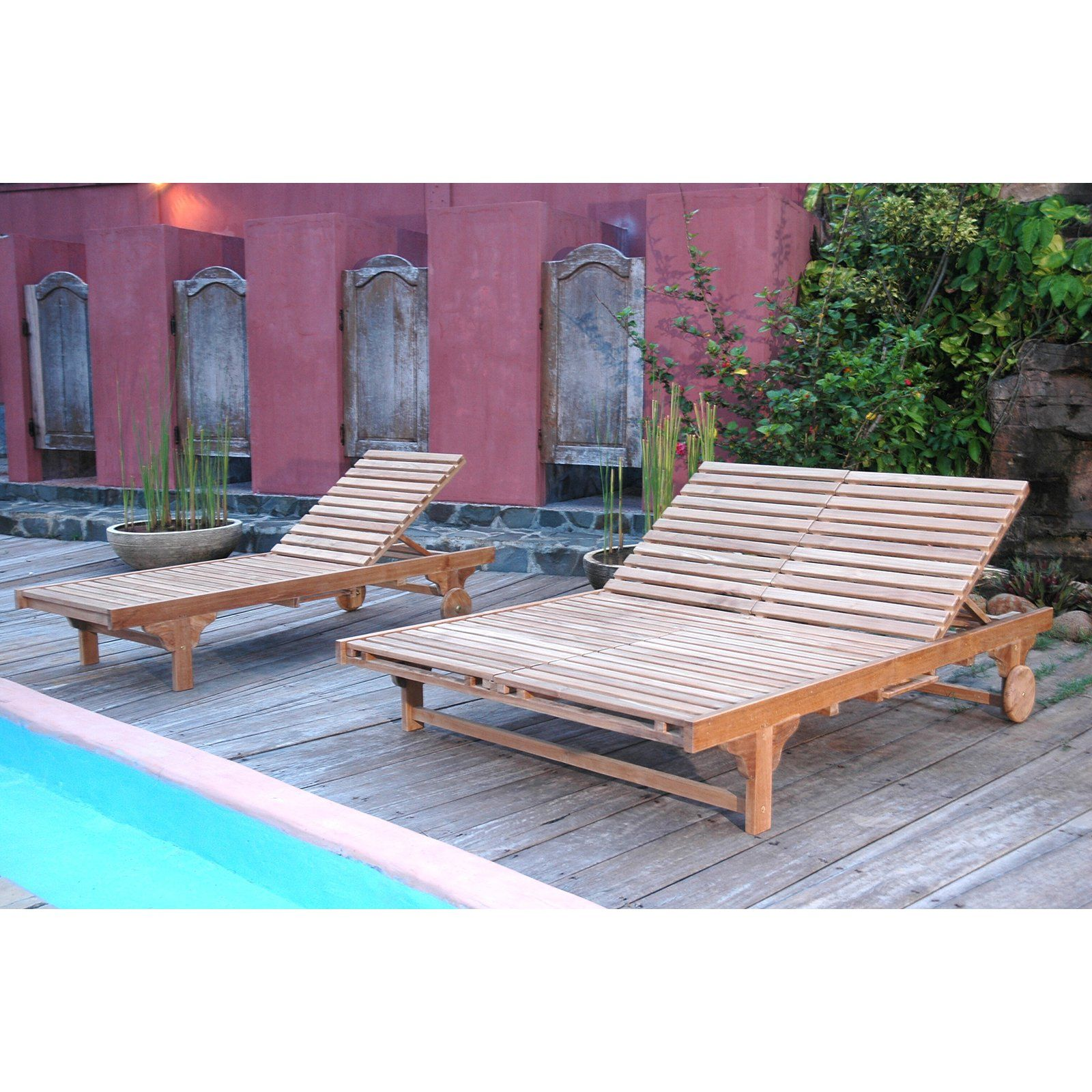 Outdoor Anderson Teak Bel Air Sun Double Chaise Lounge Chair