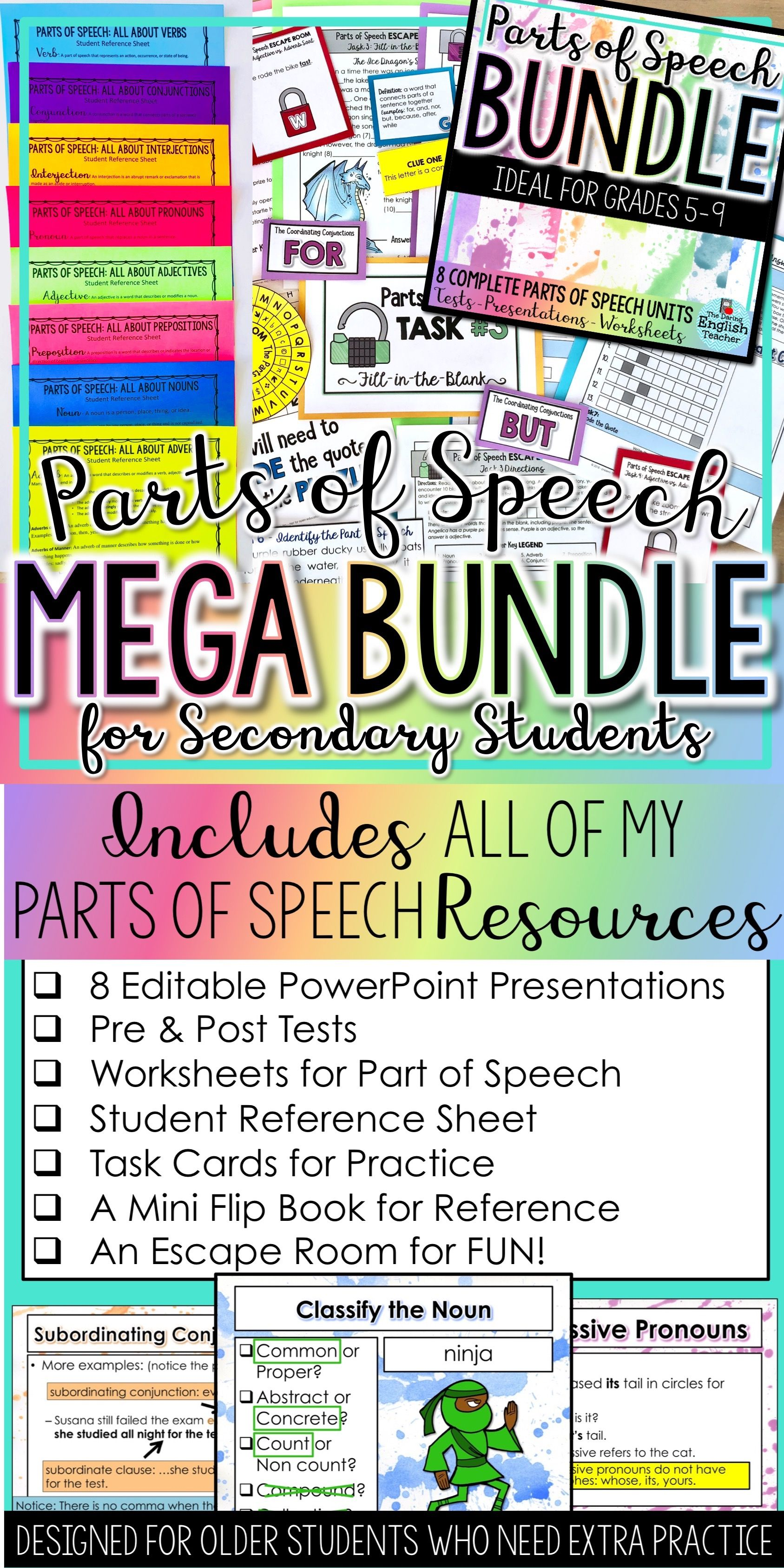 Parts Of Speech Mega Bundle For Secondary Students