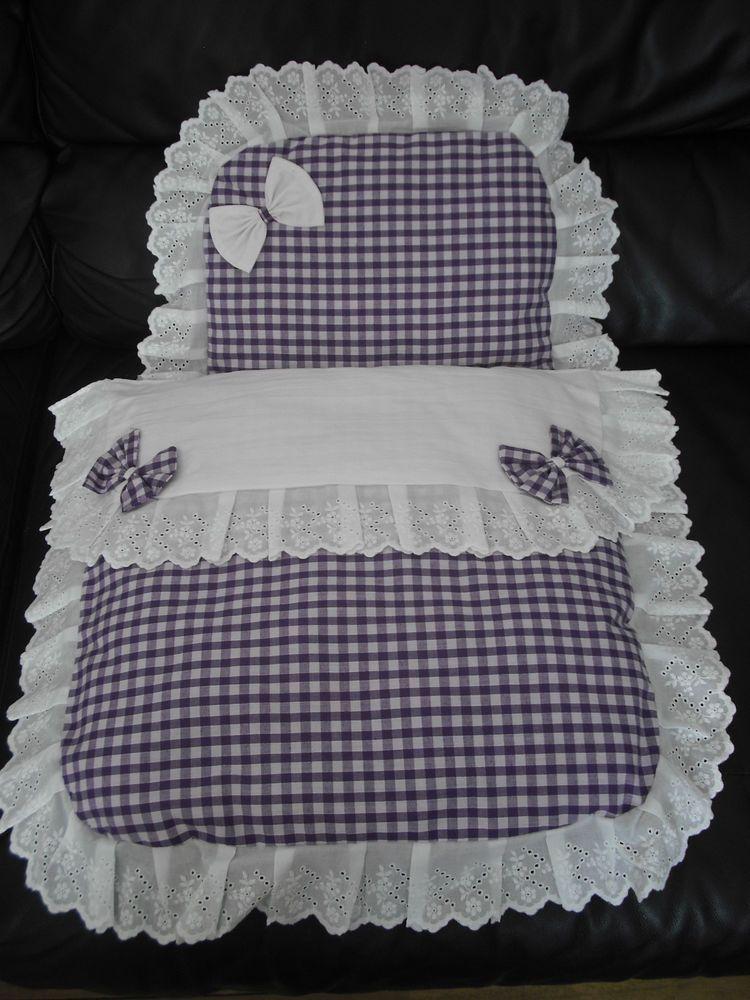 White & dark lilac dolls pram set..ideal for silver cross coach ... : dolls pram quilt sets - Adamdwight.com