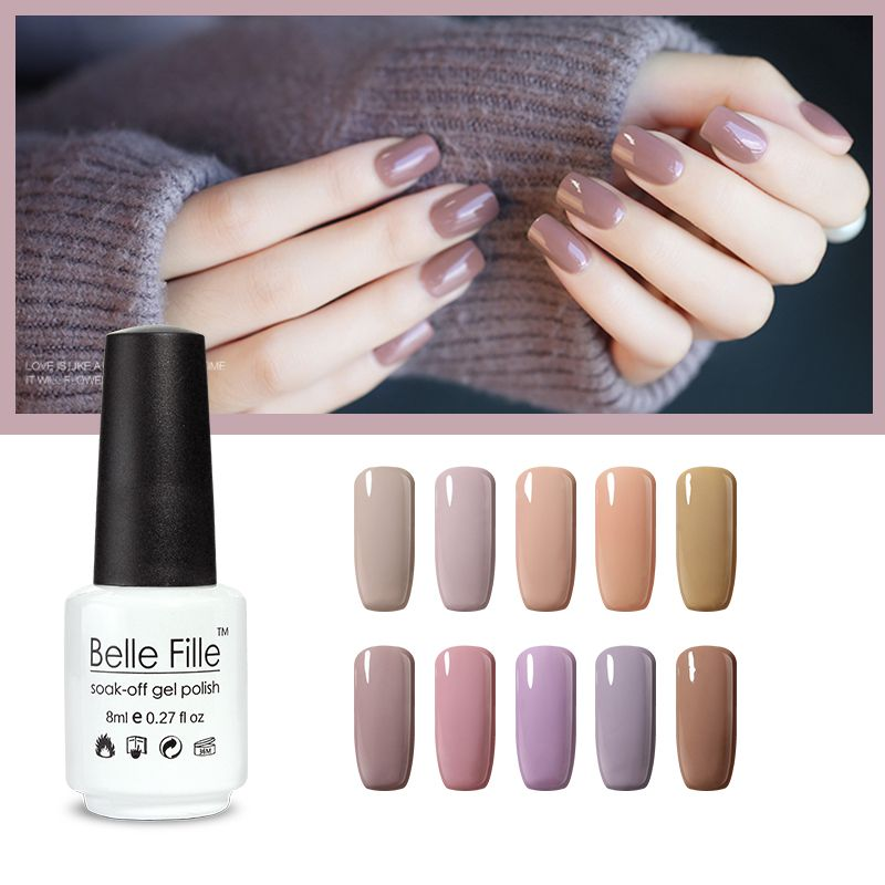 BELLE FILLE unhas em gel nude Color Nude Esmalte de Uñas de Gel rosa ...