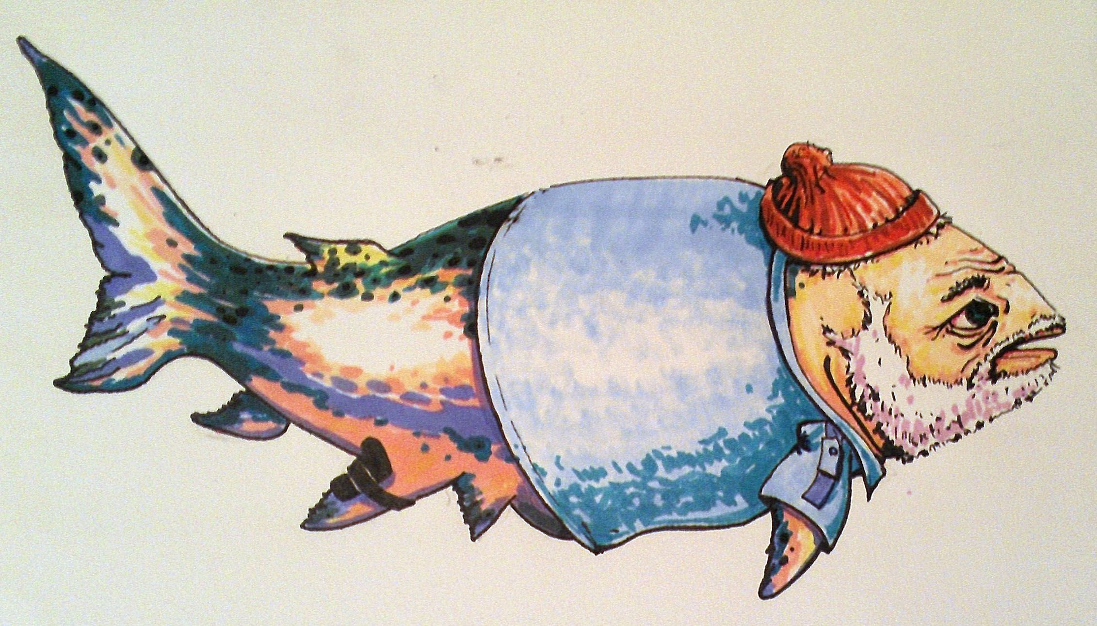 Fish with beard concept for collaborative mural in downtown Laramie, WY.