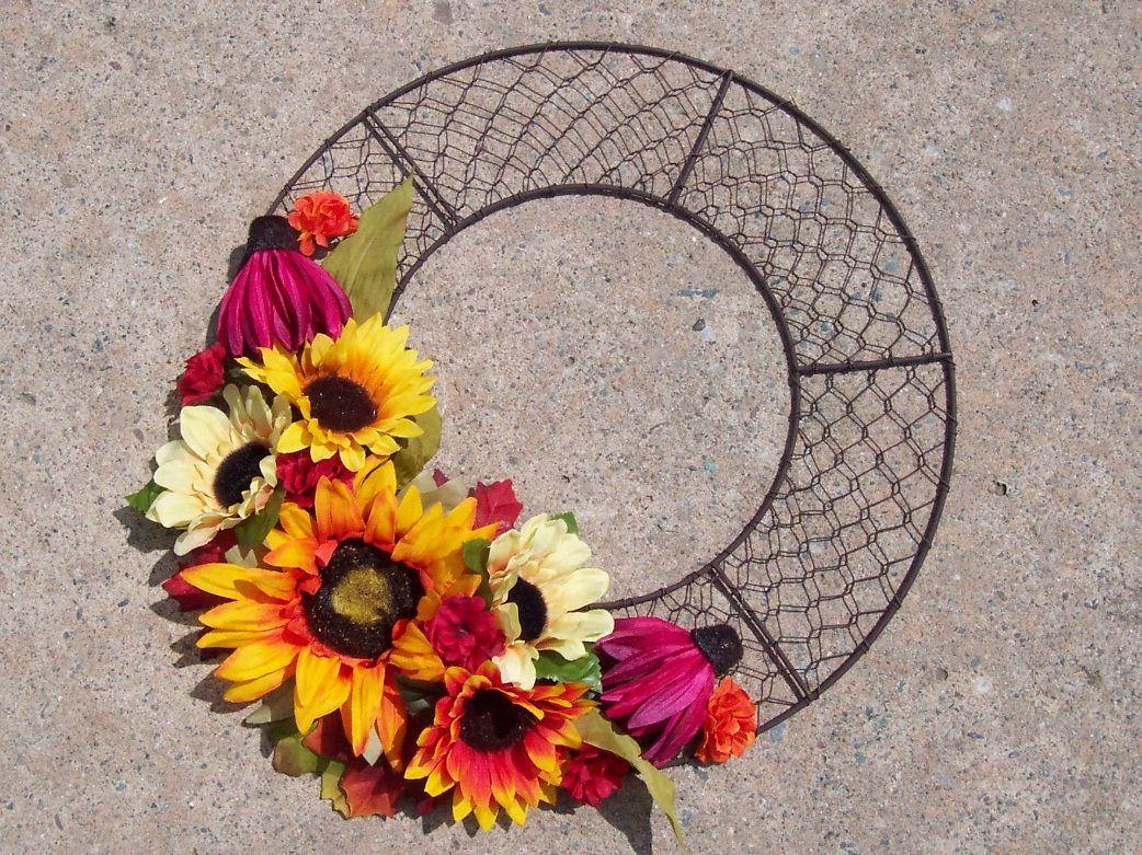 Chicken wire wreath fall wreath sunflowers bittersweet orange