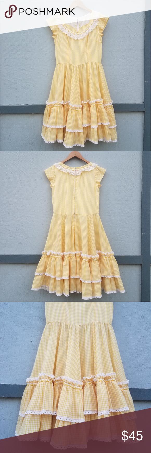 Vintage Handmade Yellow Checkerd Ruffle Dress In 2020 Ruffle Dress Clothes Design Dresses [ 1740 x 580 Pixel ]