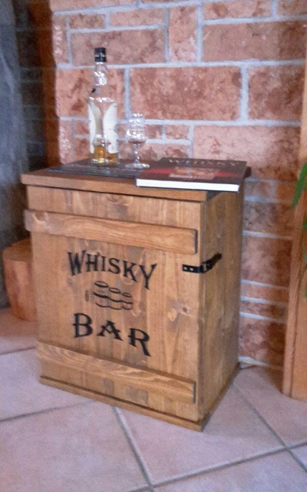 Mini Bar Whiskey Frachtkiste Shabby Vintage Schrank Whisky