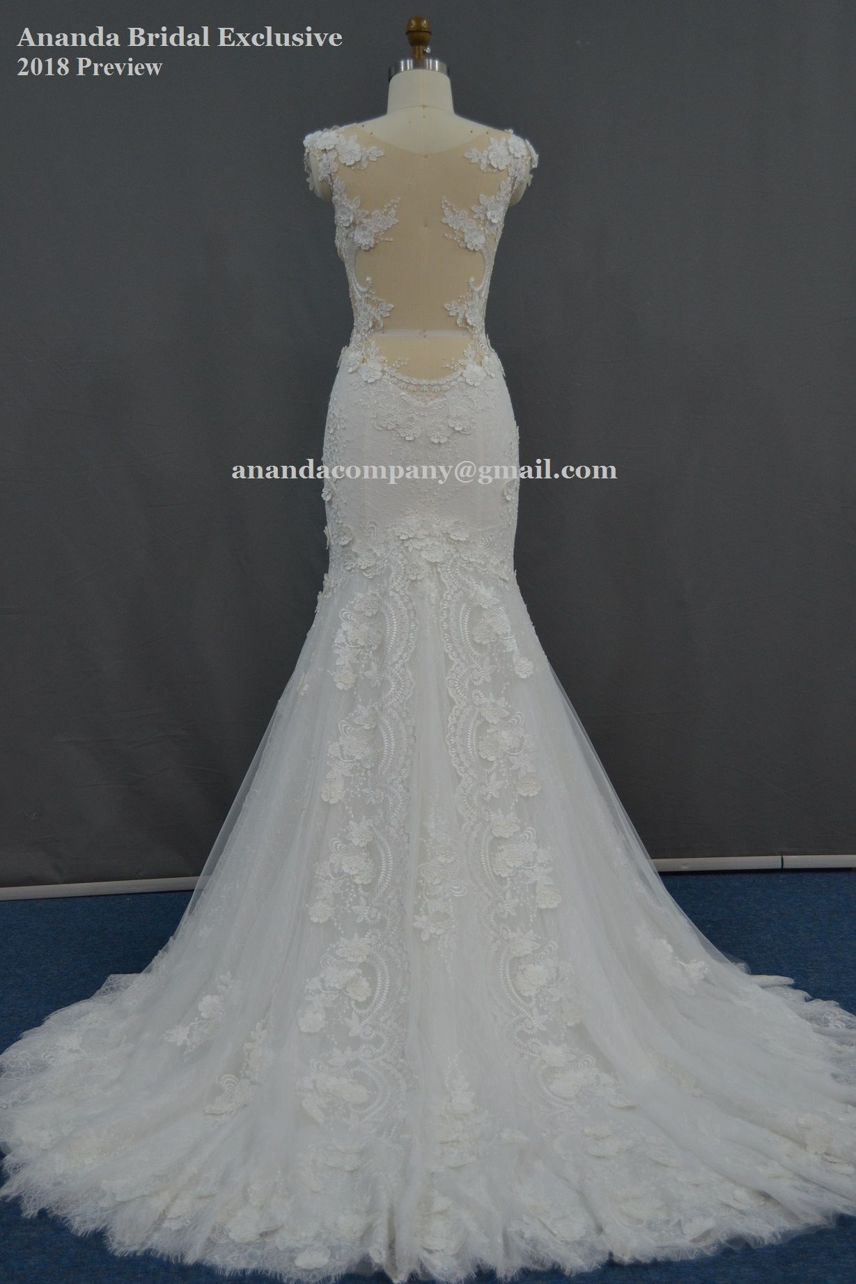 Low back lace mermaid wedding dress  Sexy mermaid lace wedding dress with nude skin low back  Preview