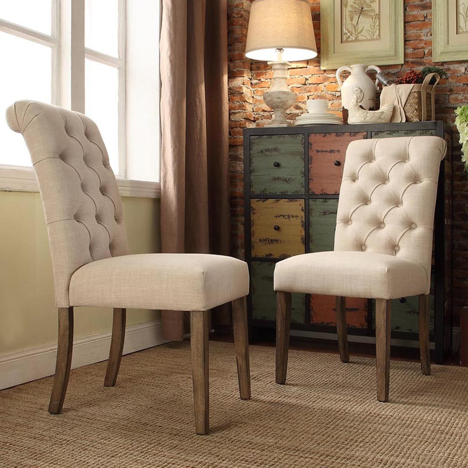 Benchwright Button Tufts Upholstered Rolled Back Parsons Chairs